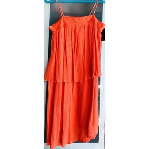 Beautiful Coral Layered Spaghetti Strap Dress NWT